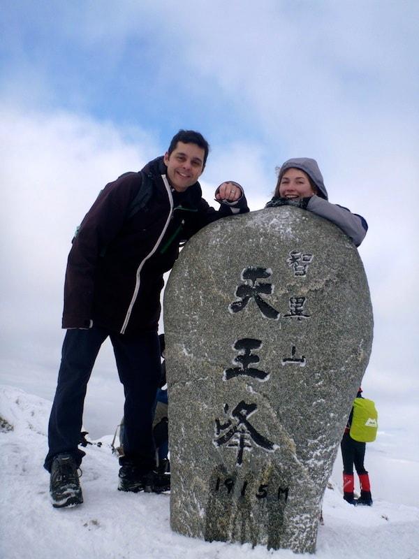 Top of Mountain Jirisan with snow