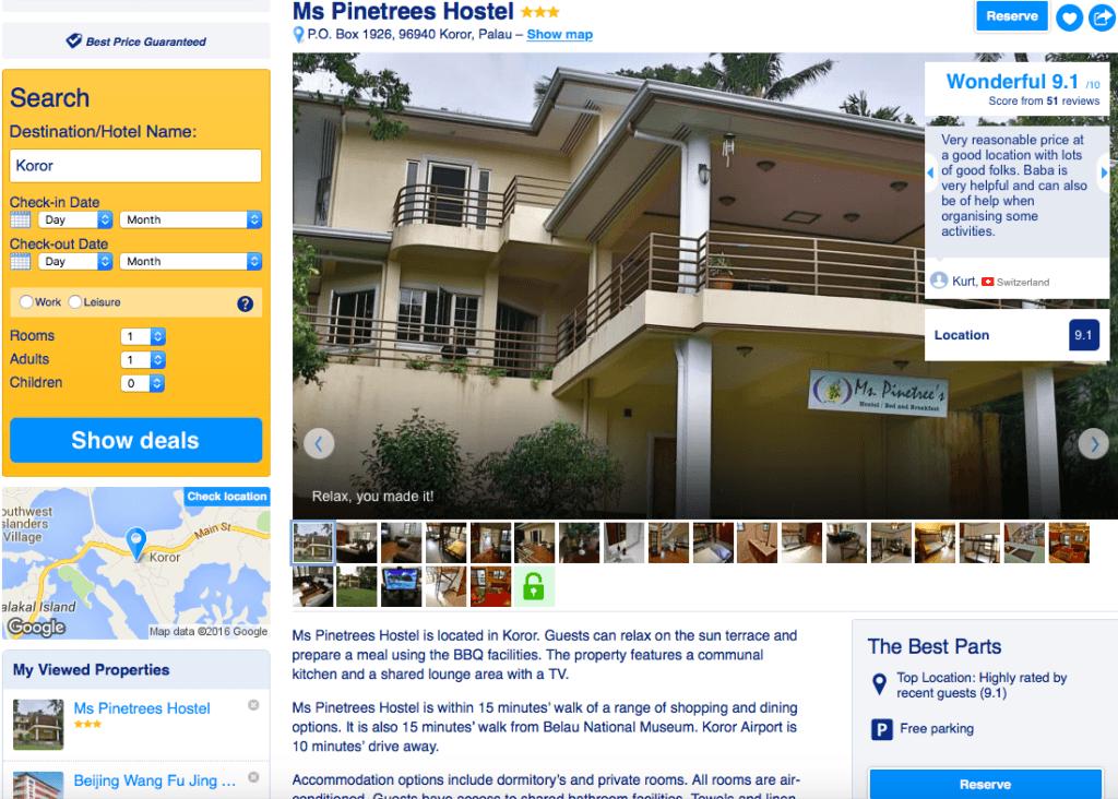 Acomodação barata em Palau