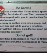 China Beijing tea scam warning