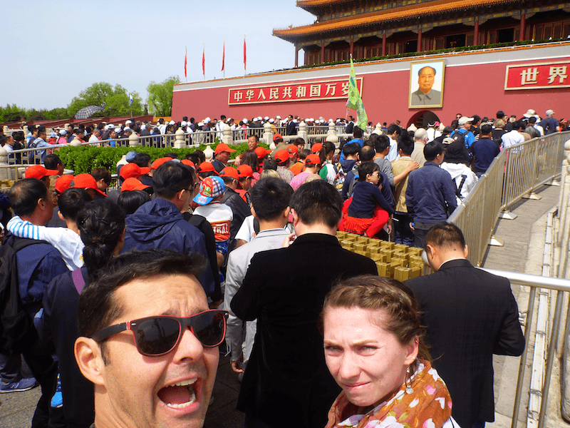 Praça da Paz Celestial (Tiannamen Square) Peking Beijing Mulitdão