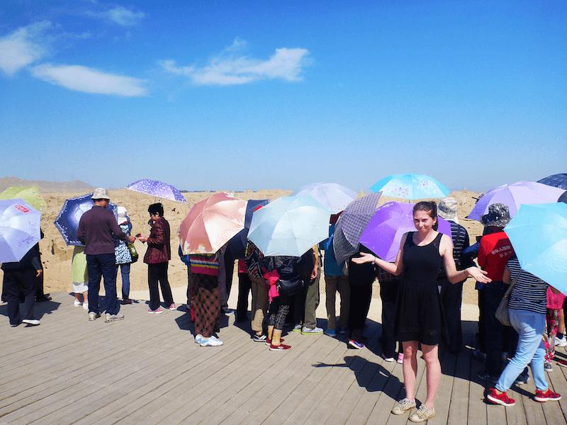 Funny crazy China sun umbrella