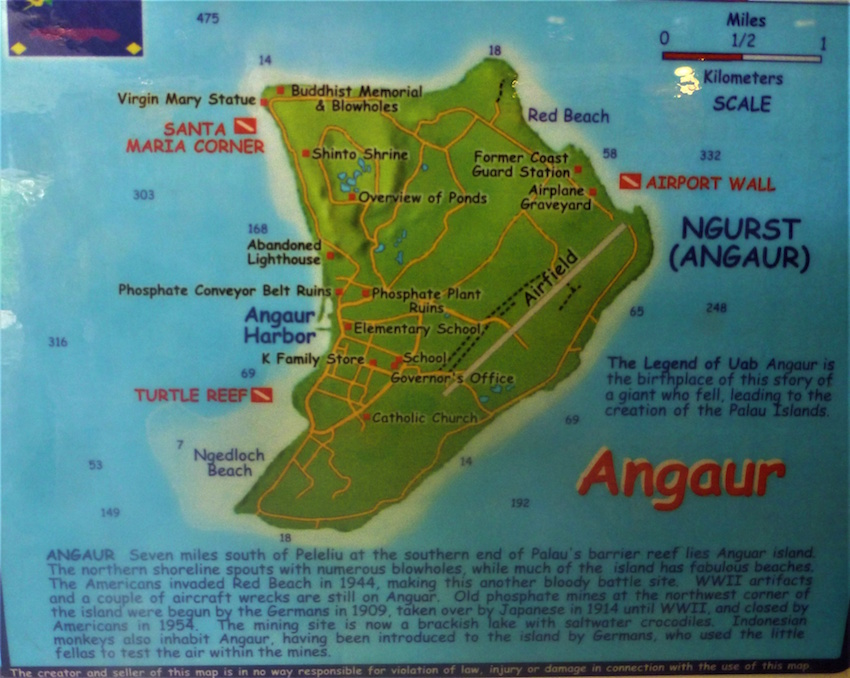 Angaur diving map in Palau