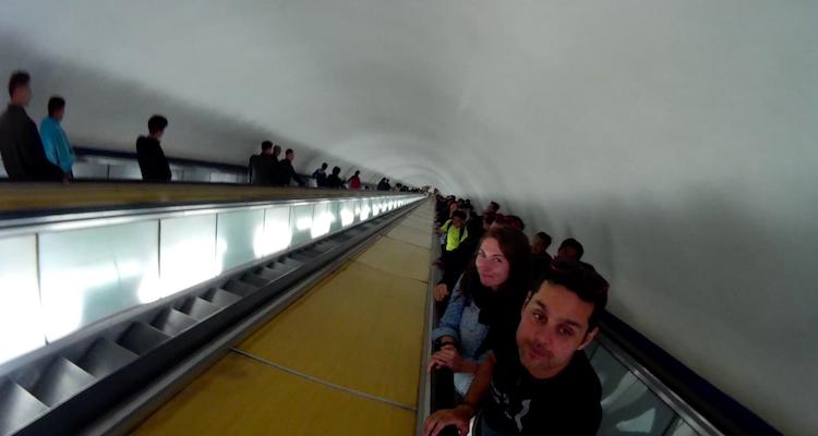 Escada rolante metro Coreia do Norte Pyongyang