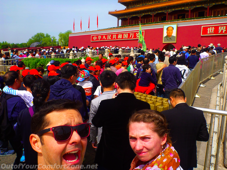 Tourists China Tiannamen Square Mao Portrait