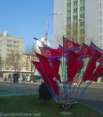 North Korea flags on street corner Pyongyang