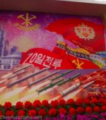 North Korea missile communist flower propaganda