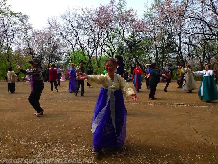 Dance party at park Pyongyang North Korea kim il-sung birthday celebration