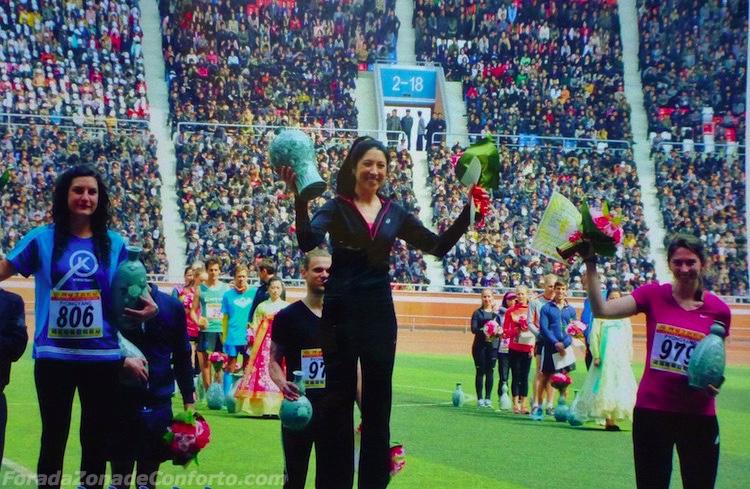 Vencedores da corrida de 10k da Maratona de Pyongyang 2016 na Coreia do Norte