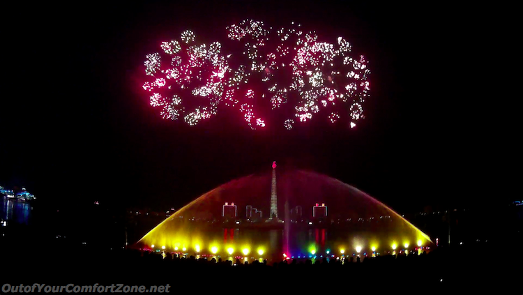 Kim il-sung birthday celebration fireworks Pyongyang North Korea fireworks Juche Tower