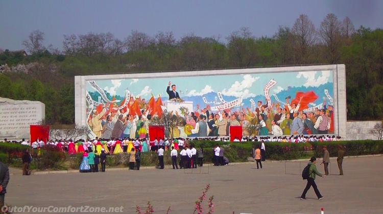 North Korea propaganda mural poster communist Pyongyang