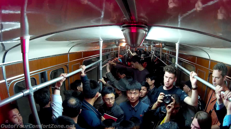 North Korean locals on Pyongyang metro