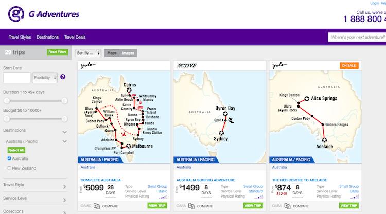 Excursões para Austrália