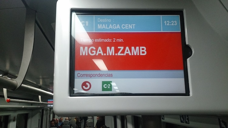 Train stop next to Málaga's central bus station
