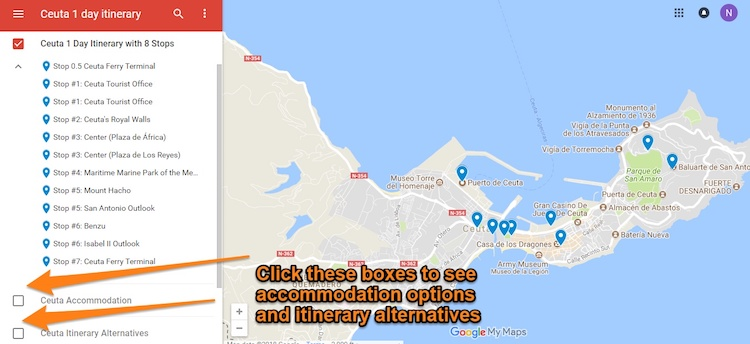 Ceuta Itinerary Map