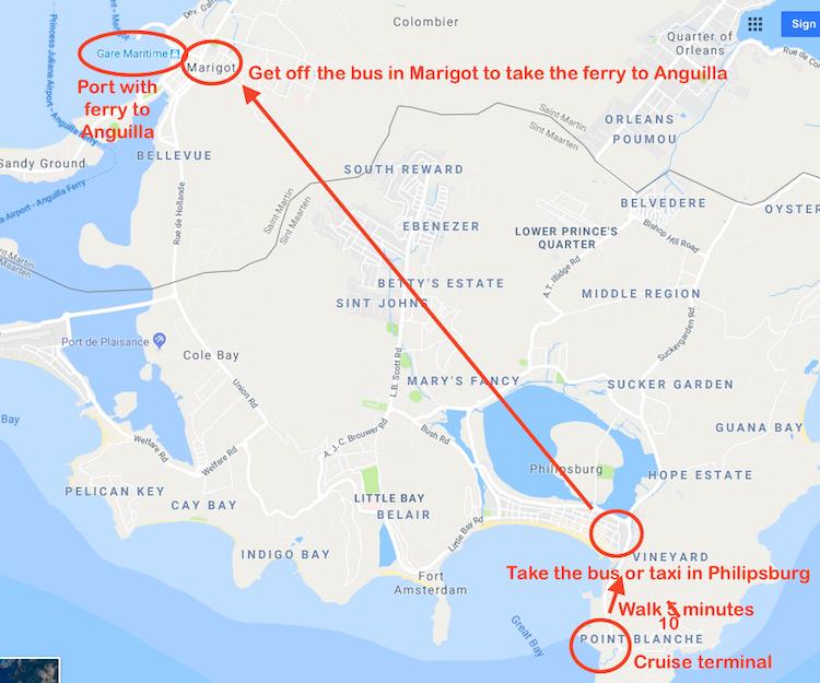 Map Saint Martin to Anguilla 1