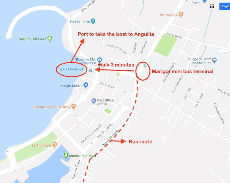 Map Saint Martin to Anguilla 2