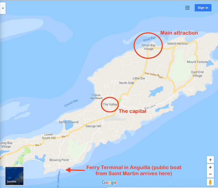 Map Saint Martin to Anguilla 4