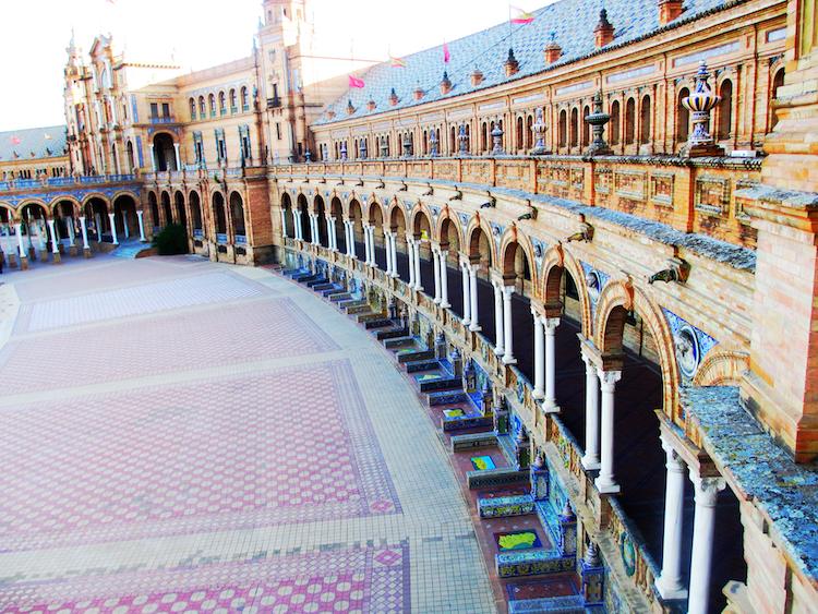 empty Sevilla Plaza de Espana dramatic colors