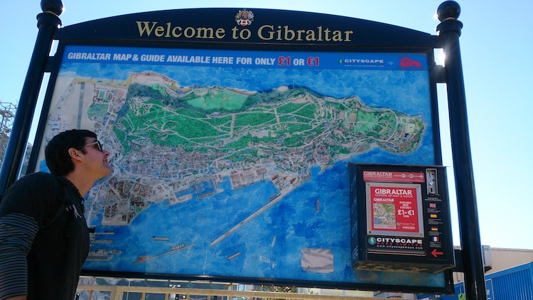Gibraltar map welcome sign