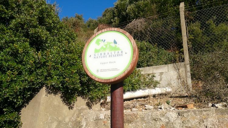 Gibraltar upper rock nature reserve sign