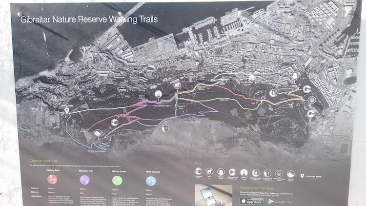 Gibraltar upper rock nature reserve walking map