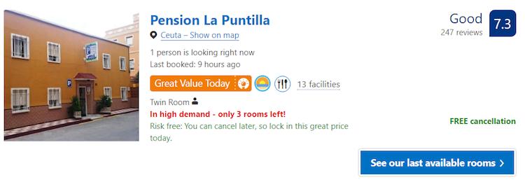 guesthouse hostel Ceuta