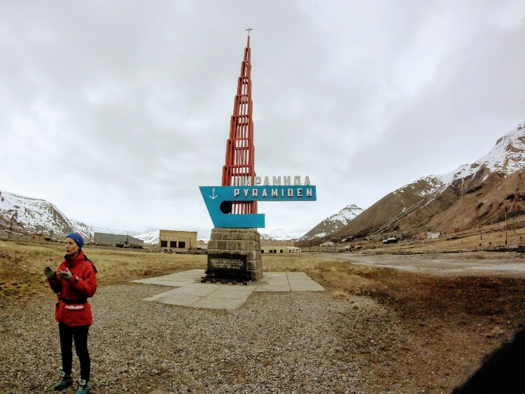 Abandoned building sign Pyramiden Svalbard Norway