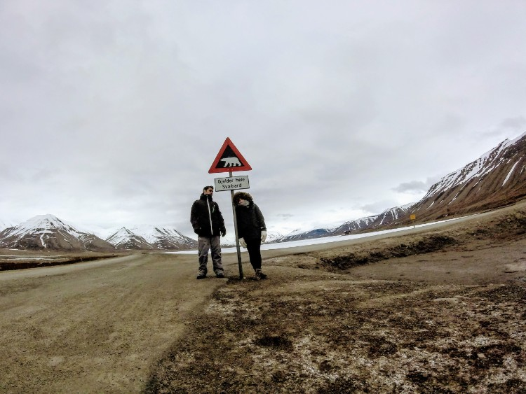 Svalbard Norway Longyearbyen polar bear warning sign