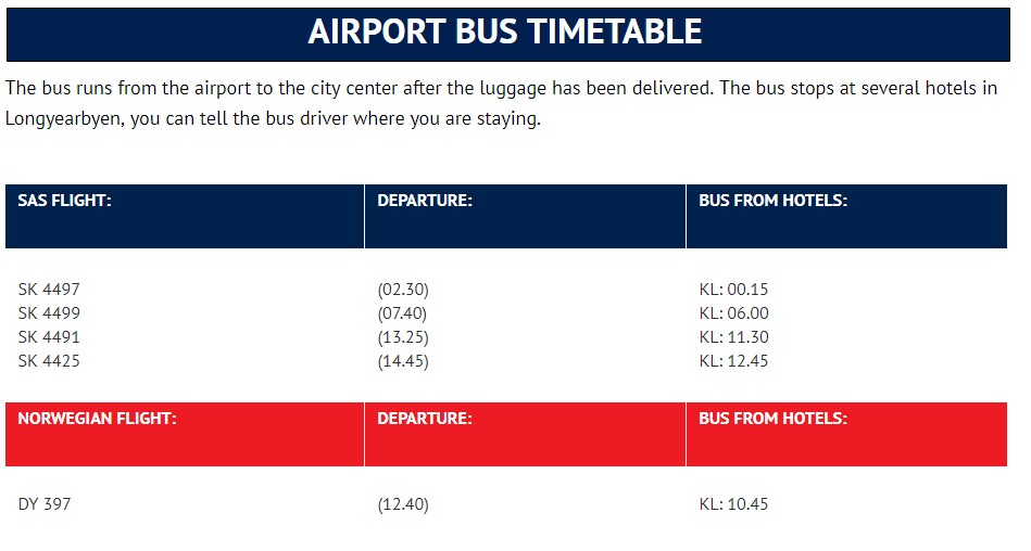 Svalbard Longyearbyen airport bus schedule timetable
