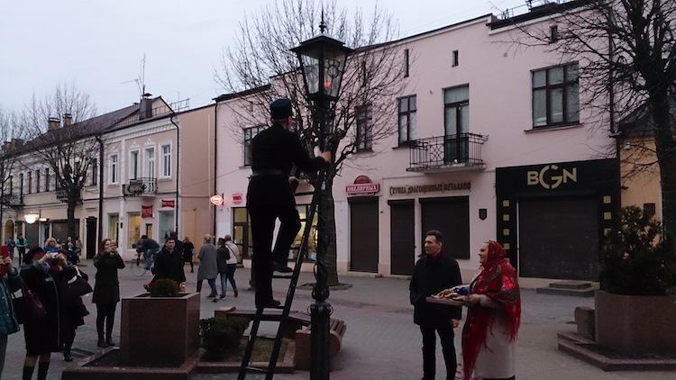 Brest light man streetlamp Belarus