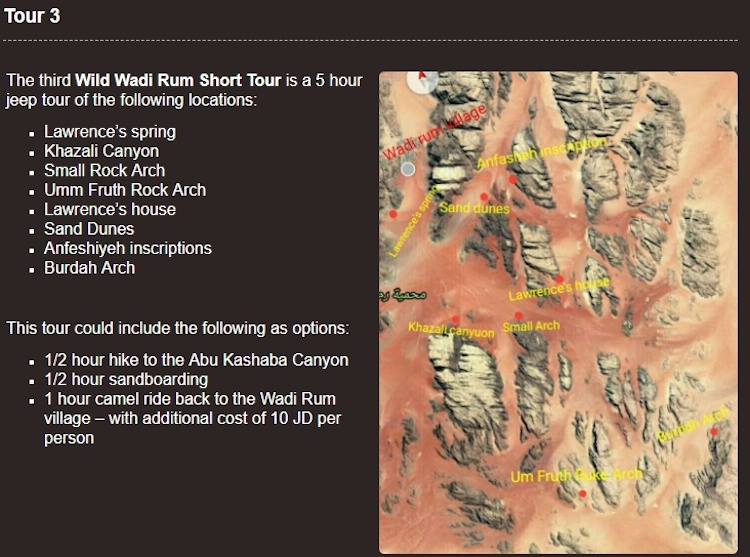 Wadi Rum Map attractions