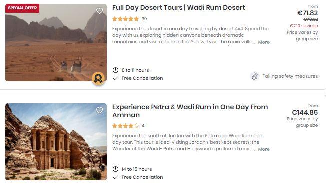 Best attractions in Jordan