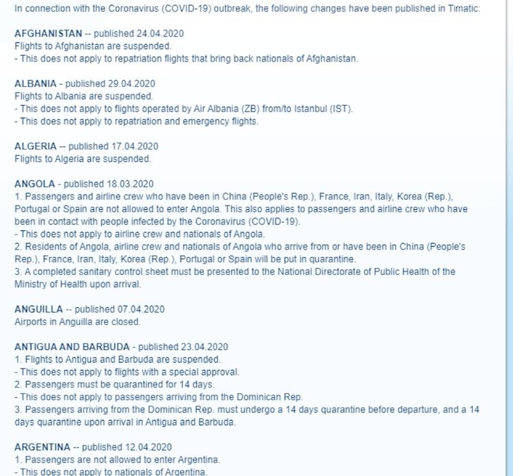 IATA countries list covid-19