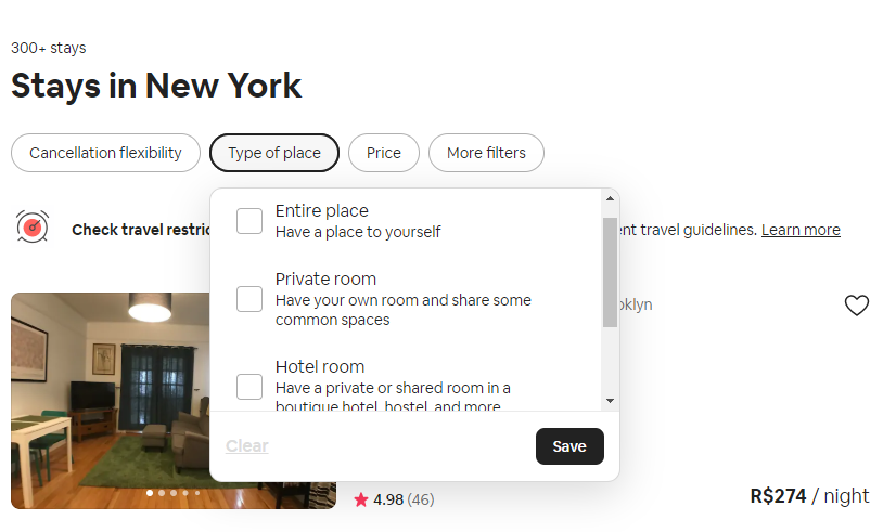 type of space airbnb