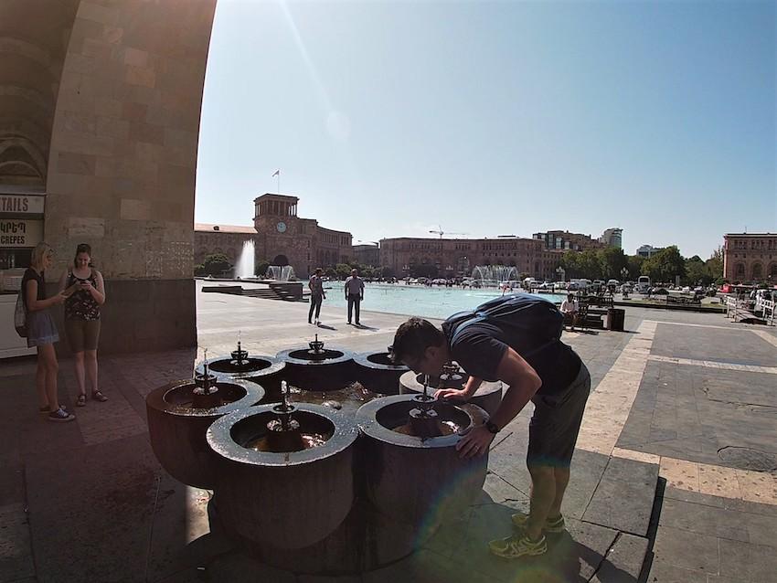 Water Fountain republic square Yerevan Armenia
