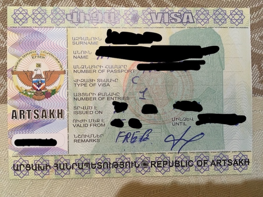 Artsakh Visa (nagorno karabakh)